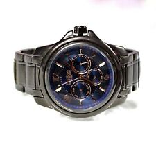 New Armitron 20/4924DG 6P29 Blue Chronograph Gunmetal Stainless Steel Men Watch