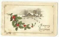 Merry Christmas Snow Scene Peaceful Country Church Holly Leaves & Berries c1911