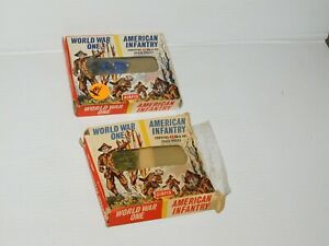 2 BOXES OF VINTAGE AIRFIX WWI AMERICAN INFANTRY FIGURES HO/OO SCALE