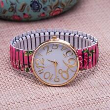 1x Flower Round Flexible stretch Band watch Quartz Wrist Bracelet Watch pink Bʒ