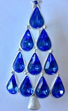 Eisenberg Ice Silver Background With Blue Teardrop Christmas Tree Brooch
