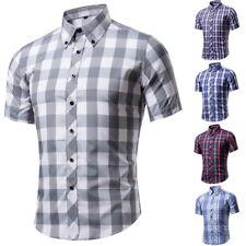 Herren Plaid Freizeithemd Klassische Hemden Shirts Kurzarm Bluse Oberteile hot