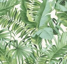 10m Alfresco leaves Palm Leaf Wallpaper White Green Jungle Tropical 2744-24136