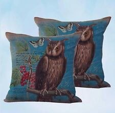 US Seller-set of 2 cherry owl butterfly cushion cover throw pillow