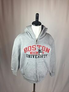Boston University Terriers Gray Youth Small (6-7) Hoodie Zip Up Sweatshirt NEW