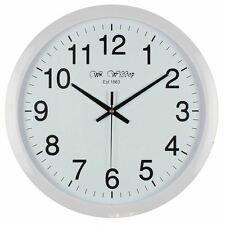 Large Stylish White Bold Classic Quartz Wall Clock Non Ticking Silent Sweeping Seconds 40cm