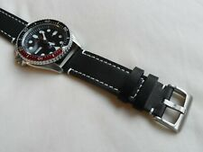 Black Leather Watch Strap for Seiko SKX 007 SNZF Diver Watch Quick release 22mm