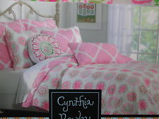 New Cynthia Rowley Reversible Twin Quilt & Sham - DIAMOND MEDALLION - Pink Green