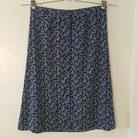 Christopher & Banks Blue White Floral Full Length Button Skirt Plus Size 1X
