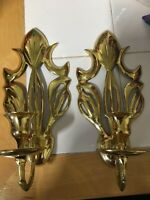 Vintage Solid Brass Sconces  Candle Holders Pair Wall Mount Polished Gold