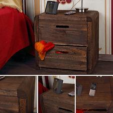 Design 3-tlg Schubladen-Tisch Nachtschrank Nachttisch Holz Shabby Braun