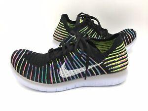 Nike Free RN Flyknit Running Shoes Black Multicolor 831070-003 Women's Size 10.5