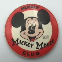 "Vtg Member Mickey Mouse Club Walt Disney Productions 3-1/2"" Button Pinback Y4"