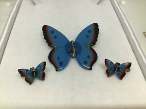 Vintage Antique Rare Resin? Butterfly BROOCH & screw-on EARRINGS Handcrafted