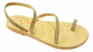 Greek Genuine Leather Sandals Handmade Strappy Women Shoes Flat Slide Ancient