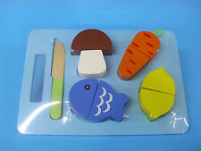 Gemüse+Fisch zum Schneiden HOLZ Kinderküche Kaufladen 10tlg. blau+BONUS NEU+vop
