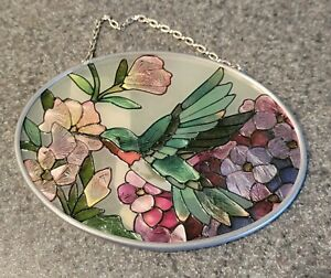 "Joan Baker Designs Suncatcher Hummingbird and Flowers Stained Glass 4.50""x3.50"""