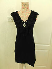 SHORT BLACK DRESS WITH BEADED V-NECK & A-SYMMETRIC HEM SIZE 10 - DOROTHY PERKINS
