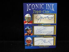 Joe Montana Peyton Manning Brady Iconic Ink Triple Cuts . Facsimile Autographs