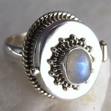 Poison/Pill Box Ring Size US 7.25 SILVERSARI Solid 925 Sterling Silver MOONSTONE
