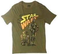 Star Wars Green R2D2 Short Sleeve T-Shirt Rusted Look Men's L New Without Tags