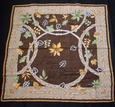 Vintage CARTIER Jewels Faux Bois Border Silk Scarf