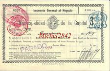 Impuesto General al Negocio 1915 Municipalidad de la Capital Argentine