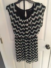 Love Reign Juniors Dress Sleeveless Black Teal & White Belted Size M