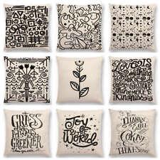 Black White Pattern Decorative Letters Fun Words Blobs Sun Star Cushion Cover