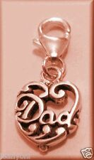 I LOVE MY DAD HEART Clip-on Charm 925 Solid Sterling Silver Sab@ Fathers Day