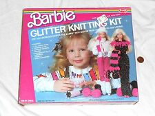 NEW Barbie GLITTER KNITTING KIT 1986 Rare SEALED Knit Doll Clothes Scarves Hats