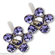 Ear Piercing Earrings Lilac Tanzanite Daisy Flower Silver Stud Studex System 75