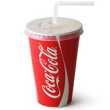 50 X Tapas De Coca Cola 12oz Taza & Paja Ranura Desechable Papel Coke Bebida fría Copas