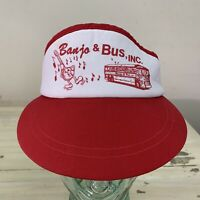 BANJO & BUS - Vtg Red & White Denver Boulder Colorado Adjustable Visor Hat Cap