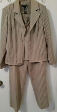 Ladies 3 pc Pant Suit by Perceptions of New York, Sz 12 Tan w/ Blk & Wht Stripes