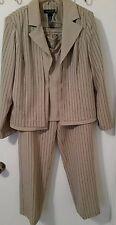 Ladies 3 pc Pant Suit by Perceptions of New York, Sz 12 Tan w/ Blk & Wht Stripes