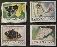 Butterflies and moths stamps, 1993, Faroe Islands, SG ref: 245-248, MNH