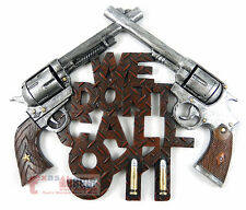 "Gun Sign Plaque ""We Don't Call 911"" Western Decor 6 Shooter Bullet Diamond Plate"