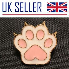Cat Paw Print Brooch/Pin - Gift, Badge, Pink, Pet, White, Animal, Nails