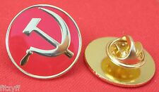 Communist Lapel Pin Badge Revolution Socialist Hammer & Sickle Red & Gold Colour