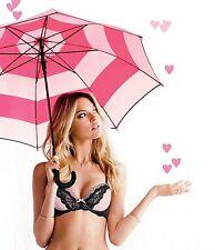 Victoria's Secret Pink Striped Signature Full Size Large Handle Umbrella