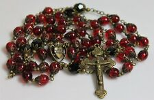 SACRED HEART OF JESUS, DARK RED BOHEMIAN GLASS CRYSTAL ANTIQUE BRONZE  ROSARY