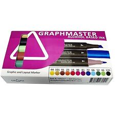 GRAPHMASTER ALCOHOL BASED MARKER PENS SET A - MAIN PACK OF 12