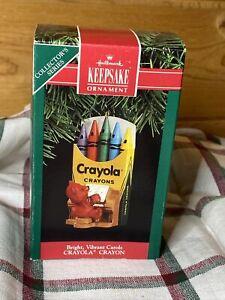"Hallmark Christmas Ornament ""Bright Vibrant Carols Crayola Crayon"" 1991 NIB"