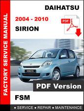 DAIHATSU 2004 2005 2006 2007 2008 2009 2010 SIRION SERVICE REPAIR FSM MANUAL