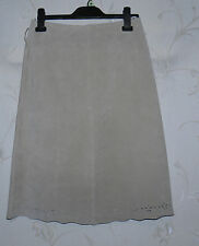 Super Beige Real Suede SELECT Zip A-Line Cutted Out Flower Skirt Sz 10 / 38 Boho