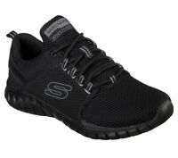 Black Skechers Shoes Men's Memory Foam 52821 Sport Train Walk Mesh Lace Comfort