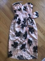 Vintage 80s true To you peach satin lace cocktail prom formal dress 3 Strapless