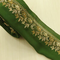 Vintage saree Border Indian Sari Used Hand Beaded 1YD Trim Sewing Green Lace