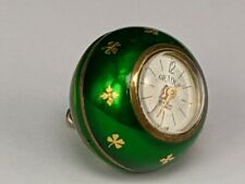 Gradus pendant ball watch with green enamel & gold decoration in working order